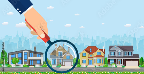 Fotomural Magnifying glass with house.