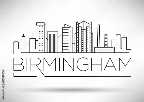 Minimal Birmingham Linear City Skyline with Typographic Design Wallpaper Mural