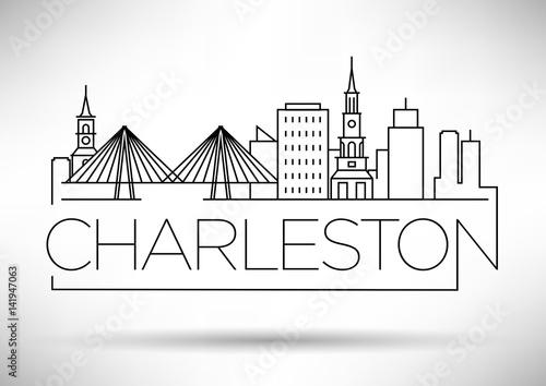 Canvastavla Minimal Charleston Linear City Skyline with Typographic Design