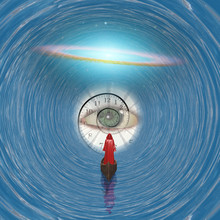 Figure In Red Robe Floating To God's Eye In Blue Tunnel  Some Elements Provided Courtesy Of NASA