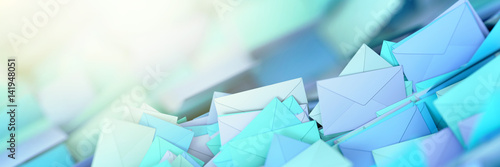 Infinite mail envelopes, 3d rendering background Canvas