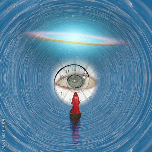 Fotografie, Obraz  Figure in red robe floating to God's eye in blue tunnel  Some elements provided