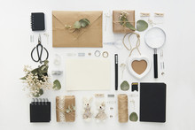 Mock Up With Wedding Decorations. Workspace With Copy Space