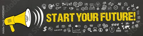 Fotografie, Tablou  Start your Future! / Megafon mit Symbole