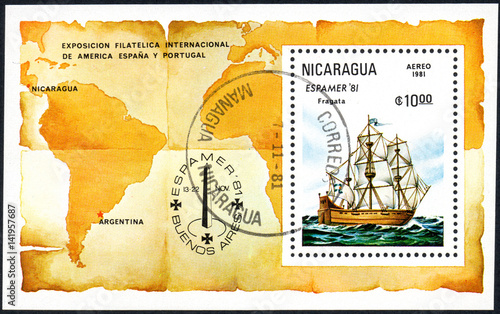 A stamp printed in Nicaragua shows Frigate, Espamer '81 Stamp Exhibition, Buenos Tableau sur Toile