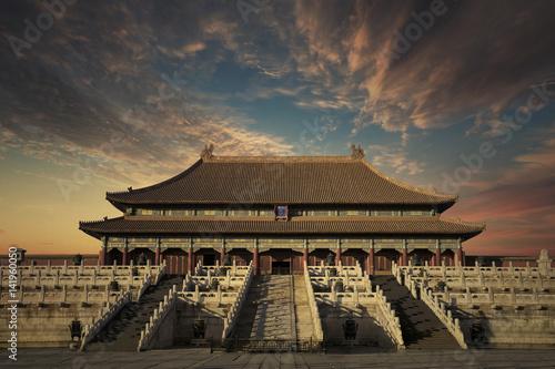 Poster Pekin Forbidden City with twilight sky