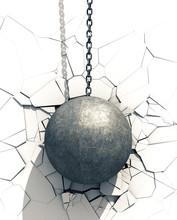 Metallic Wrecking Ball Shattering White Wall