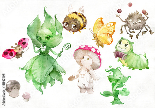 Watercolor illustration of funny cartoon garden fantasy characters, fairies, mushrooms, insects