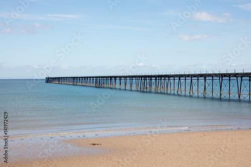 Sandy Beach and pier Ramsey Isle of Man Canvas Print