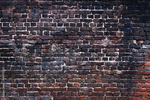 Tela  Black brick texture, dark background wall