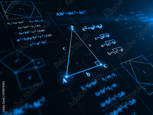 pythagorean theorem. 3d illustration Wallpaper Mural
