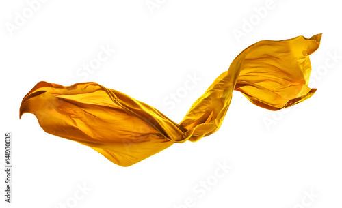 Foto  Smooth elegant yellow cloth on white background