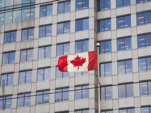 Fotografia  Canadian flag in city centre