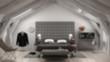 Blur background interior design, loft minimalistic classic gray bedroom