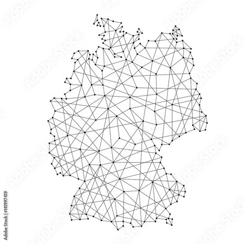 Obraz na plátně Map of Germany from polygonal black lines and dots of vector illustration
