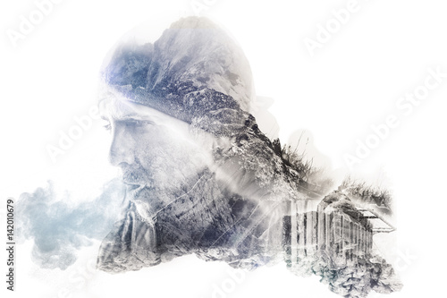 фотография  double exposure of hiker breathing out with rocky landscapes
