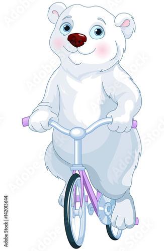 Poster Magie Polar Bear Riding a Bicycle