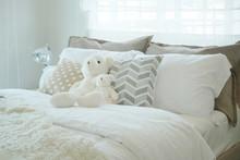Teddy Bear On Bed In Kid Bedro...