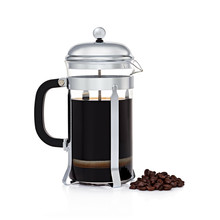 Glass French Coffee Press With Coffee Beans Isolated On White Background. Stainless Steel Coffee Maker Pot