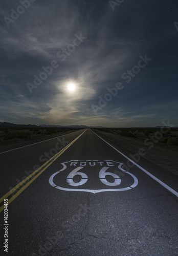 Poster Route 66 Desert moon over Route 66 sign in eastern San Bernardino County, California.