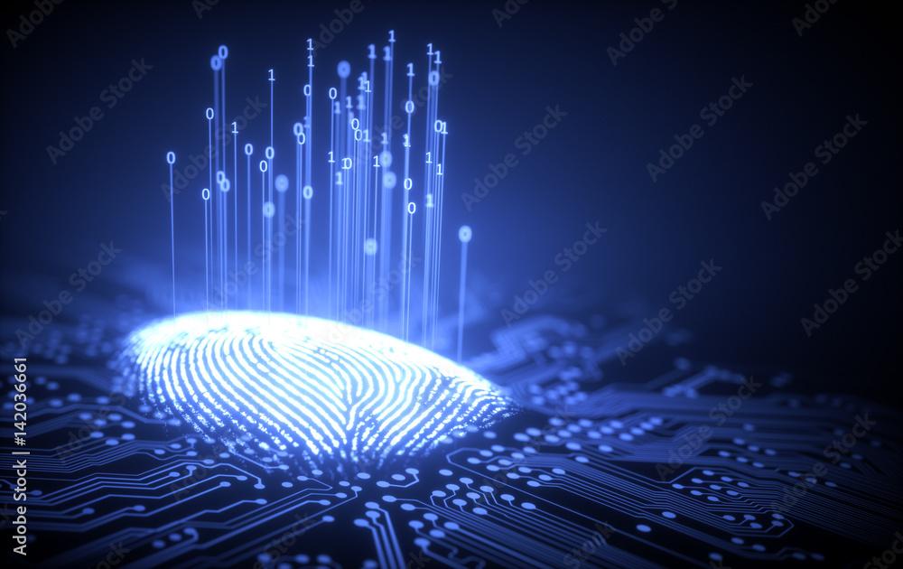 Fototapety, obrazy: Fingerprint Binary Microchip