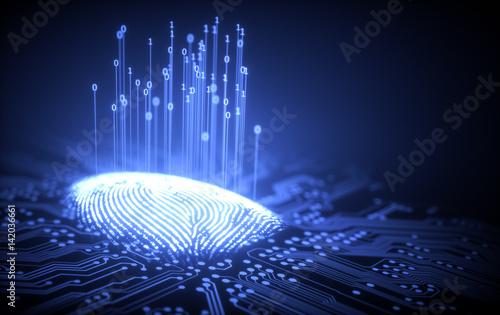 Fingerprint Binary Microchip Canvas Print