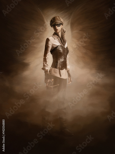 Photo  Steampunk digital painting
