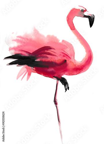 Obraz na plátně Watercolor flamingo