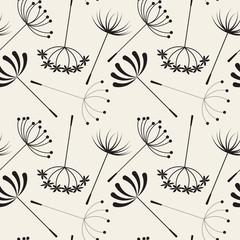Fototapeta Czarno-Biały Abstract Dandelions seamless patterns