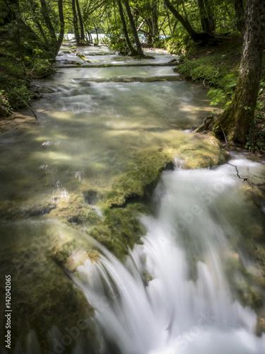 Aluminium Prints Forest river plitvice waterfall7