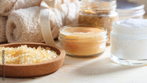 Fotobehang Spa Variety of creams and bath salt - spa concept