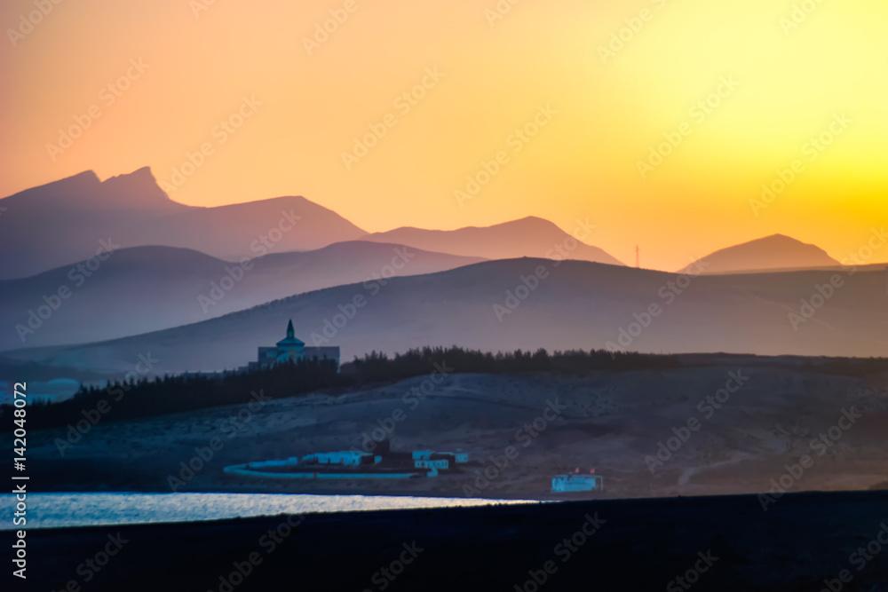 Fototapeta Sonnenuntergang bei der Costa Calma auf Fuerteventura