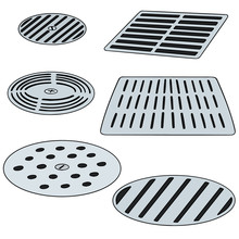 Vector Set Of Cover The Drain