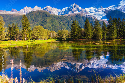 Foto auf Gartenposter Reflexion Alps and fir-trees are reflected in lake