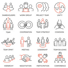 Vector Set Of Linear Icons Related To Business Process, Team Work And Human Resource Management. Mono Line Pictograms And Infographics Design Elements