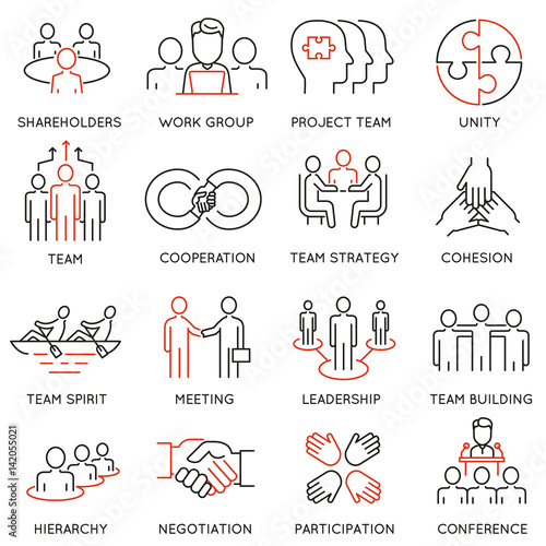 Fotografía  Vector set of linear icons related to business process, team work and human resource management