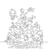 doodle illustration with liitle people prepare to celebration