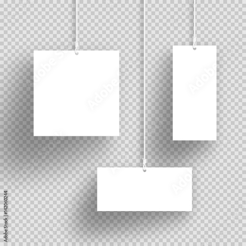 Vector 3d White Hanging Frames With Transparent Shadows - Buy this ...