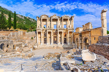 Izmir, Turkey. Library Of Celsus In Ephesus Ancient City.