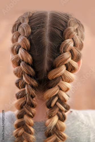 Obraz Young woman with beautiful hairstyle on color background - fototapety do salonu
