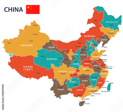 Fototapeta China - map and flag - illustration