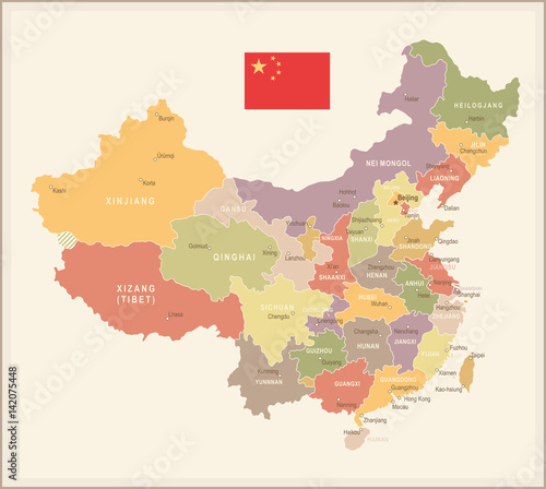 Fotografie, Obraz China - vintage map and flag - illustration