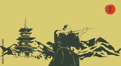 Fotografia  Illustration, a man with a sword and mountains.