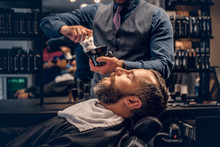 Barber Applies Shaving Foam To...