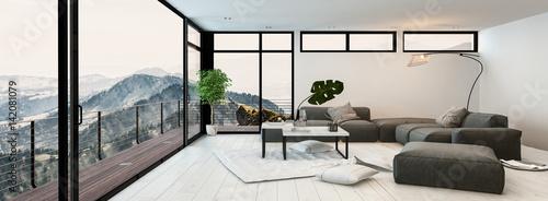 Fényképezés  Large modern glass walled living room interior