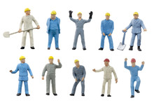 Miniature People Worker Construction Concept On White Background