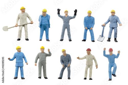 Fotografie, Obraz  Miniature people worker construction concept on white background