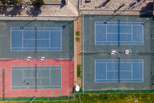Tennis Court Top Down Aerial View Buy This Stock Photo And