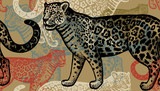 Seamless pattern with jaguars. - 142084656