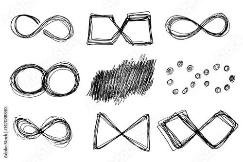 Fotografia  Hand drawn infinity icons set.